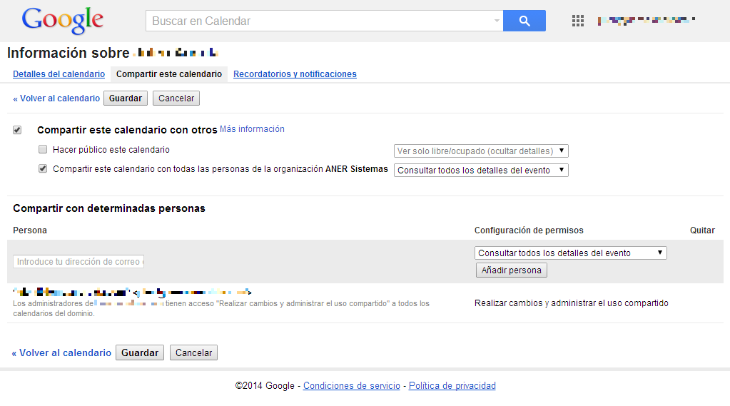 Compartir calendario Gmail