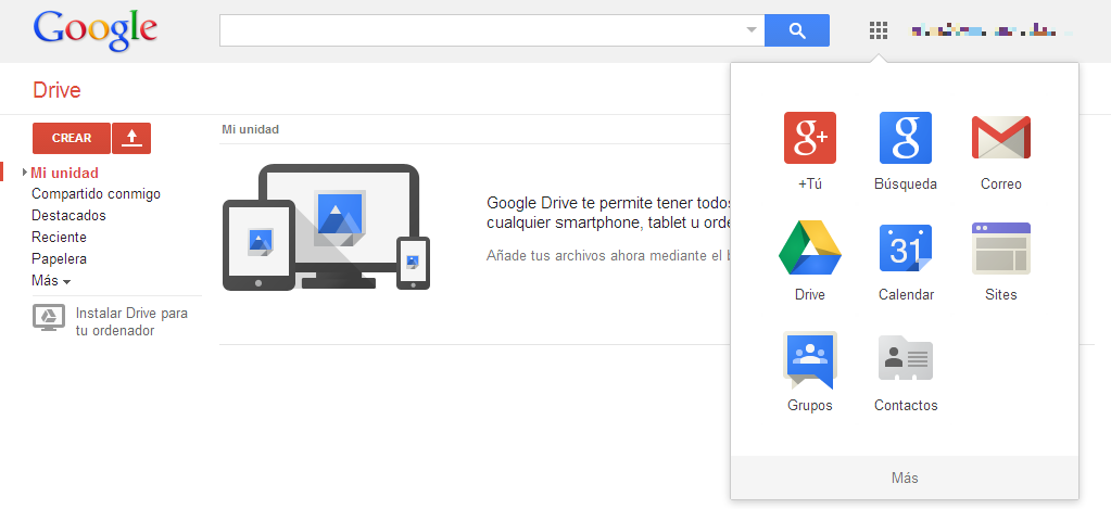 Barra Google Apps